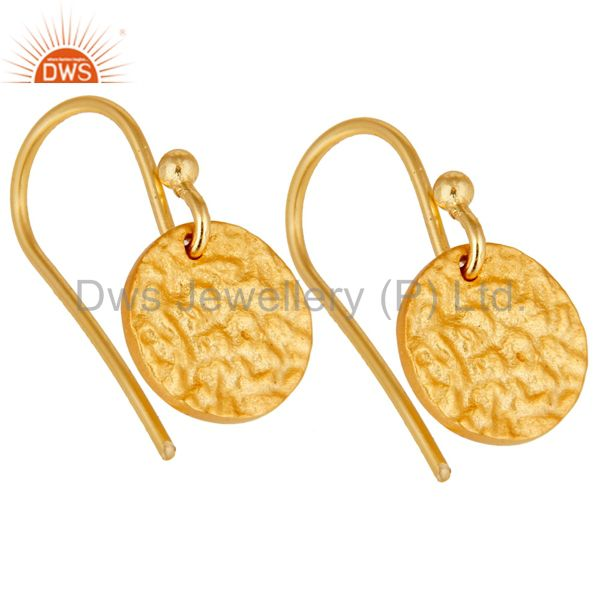 Exporter 18k Gold Plated 925 Sterling Silver Handmade Textured Design Earrings Jewelry