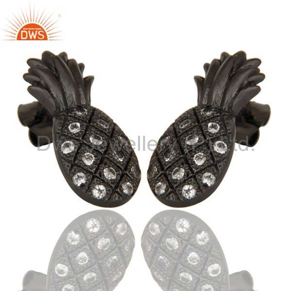 Exporter Mind Blowing Black Oxidized Sterling Silver Pineapple Design Earrings with Topaz