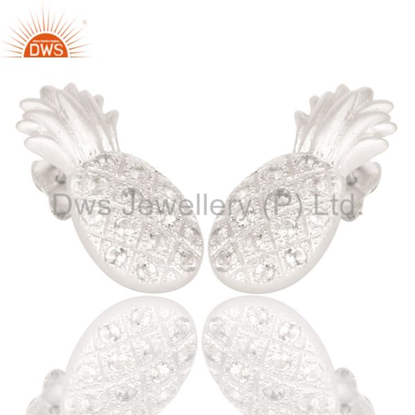 Exporter Lovely Solid 925 Sterling Silver Pineapple Design Earrings with White Topaz