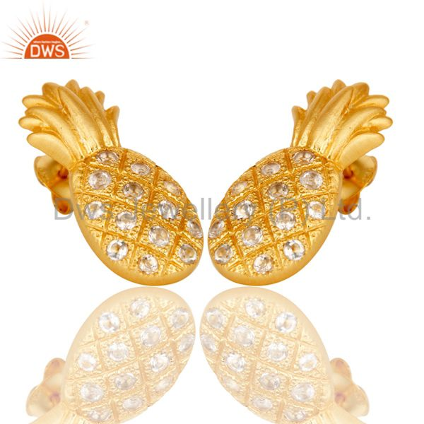 Exporter 18k Gold Plated Sterling Silver Pineapple Design Earrings with White Topaz
