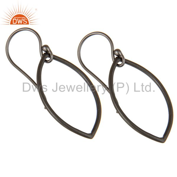 Exporter Handmade Black Oxidized 925 Sterling Silver Pear Shape Design Earrings