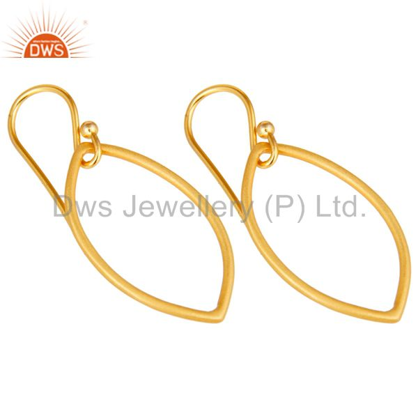 Exporter Handmade 18k Yellow Gold Plated Sterling Silver Pear Shape Design Earrings