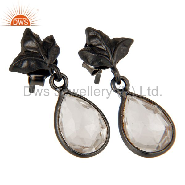 Exporter Black Oxidized 925 Sterling Silver Leaf Carving Drop Earring With Crystal Quartz