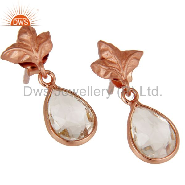 Exporter 18k Rose Gold Plated Sterling Silver Leaf Carving Earrings With Crystal Quartz