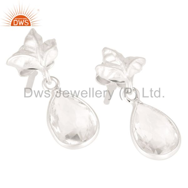 Exporter Solid 925 Sterling Silver Leaf Carving with Crystal Quartz Drops Earrings
