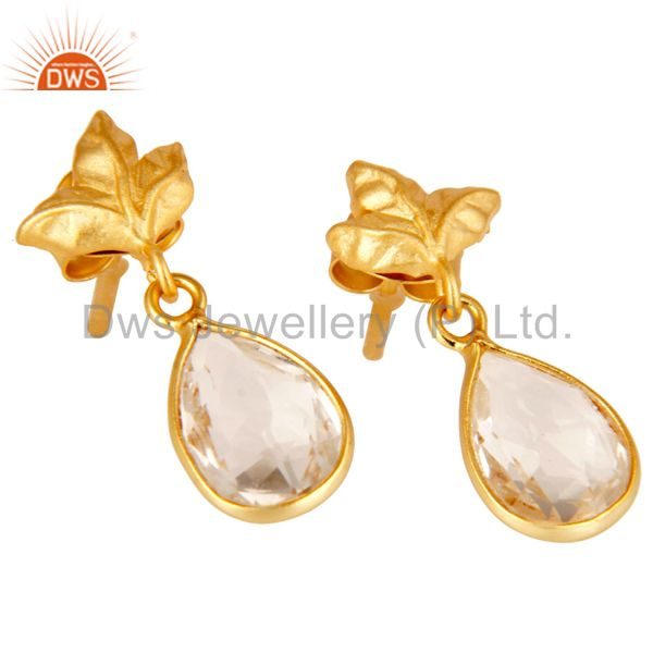 Exporter 18k Yellow Gold Plated Sterling Silver Leaf Carving with Crystal Quartz