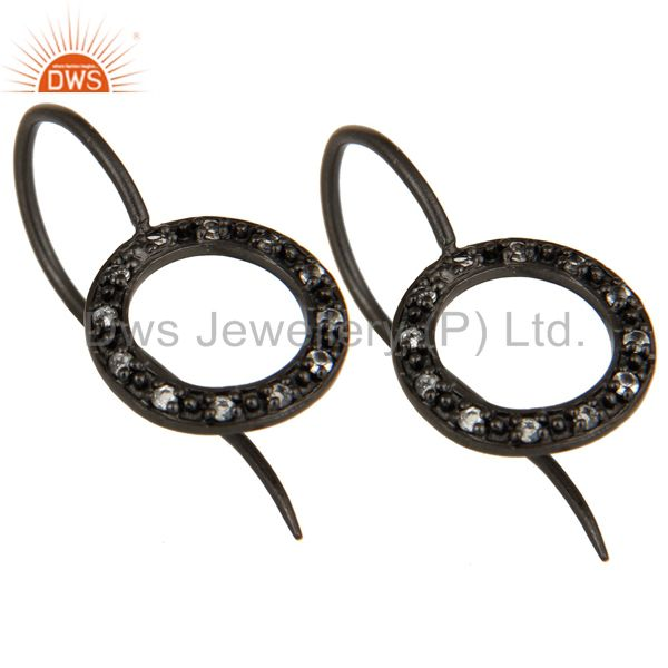 Exporter Handmade Round Cut Sterling Silver Earrings with Black Oxidized & White Topaz