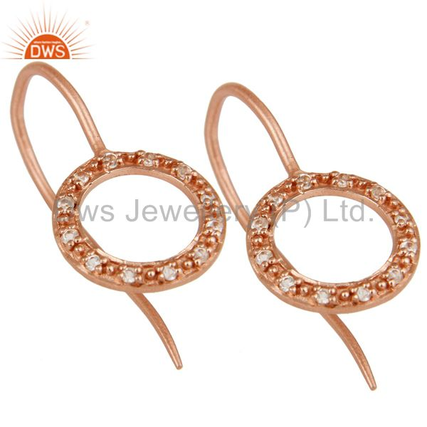 Exporter Handmade Round Cut Sterling Silver Earrings with Rose Gold Plated & White Topaz