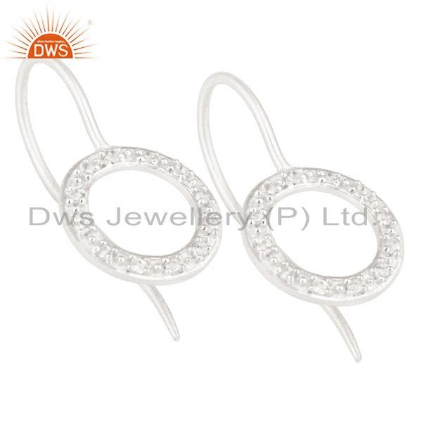 Exporter Handmade Round Cut Solid Sterling Silver Stud Earrings with White Topaz