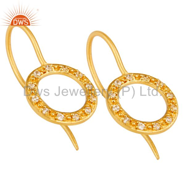 Exporter Handmade Round Cut Sterling Silver Earrings with 18k Gold Plated & White Topaz