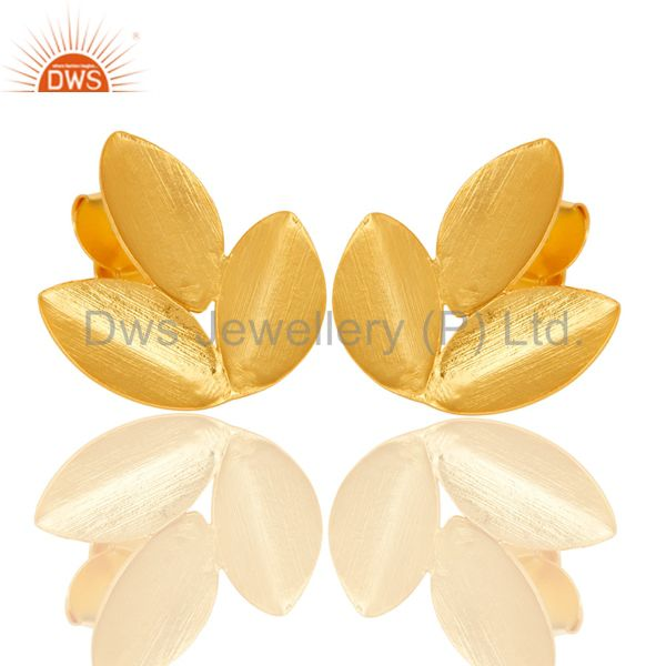 Exporter 18k Yellow Gold Plated New Fashion Prong Set Brass Studs Earrings Jewellery