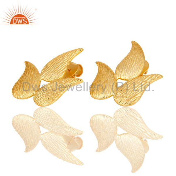 Exporter 22k Gold Plated New Fashion Prong Set Brass Studs Earrings Jewellery