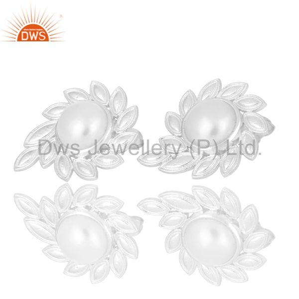Exporter Silver Plated Handmade Fashion Design Pearl Studs Brass Earrings Jewellery