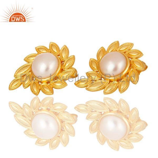 Exporter 14K Gold Plated Handmade Fashion Design Pearl Studs Brass Earrings Jewellery