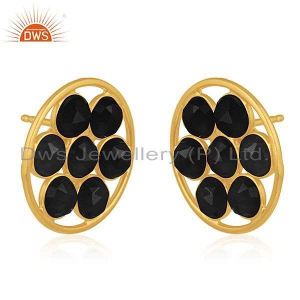 Exporter Black Onyx Gemstone 925 Silver Gold Plated Stud Earring Manufacturers