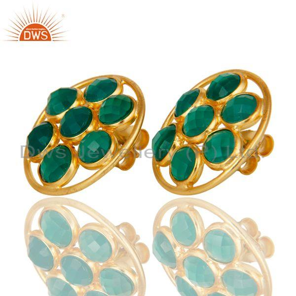 Exporter 18K Gold Plated Sterling Silver Handmade Green Onyx Bezel Set Gemstone Earrings