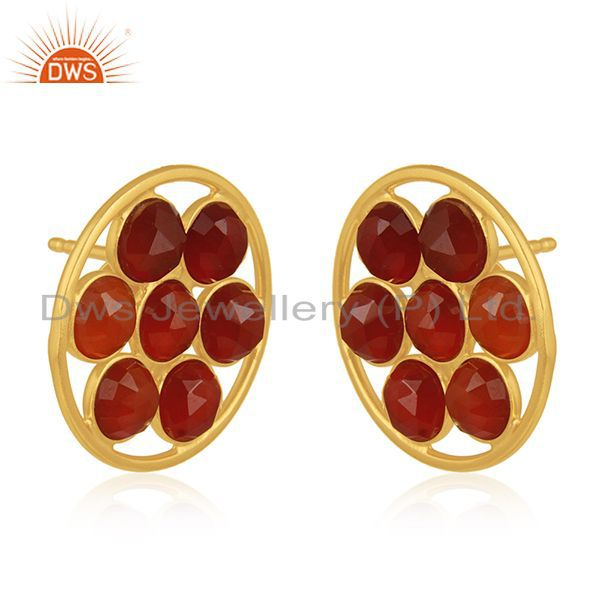 Exporter Red Onyx Gemstone 925 Silver Gold Plated Stud Earring Wholesale Suppliers