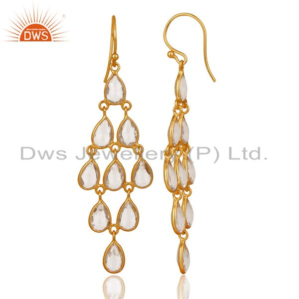 Exporter 14K Gold Plated 925 Sterling Silver Crystal Quartz Bezel Set Dangle Earrings