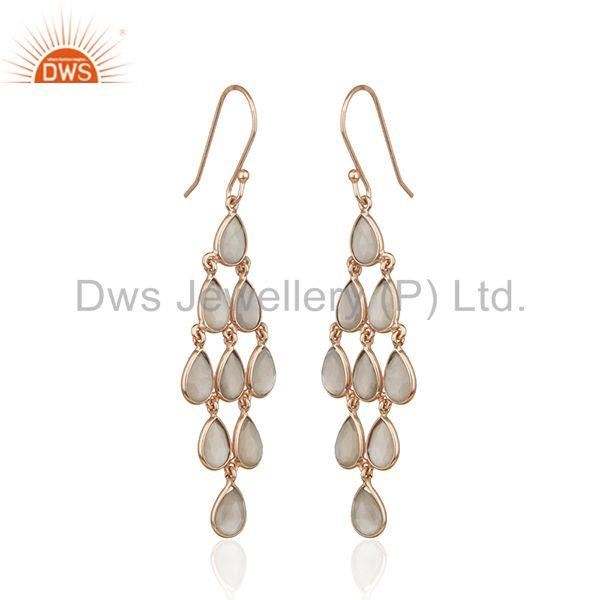 Exporter 14k Rose Gold Plated 925 Silver Grey Moonstone Earring Supplier from India