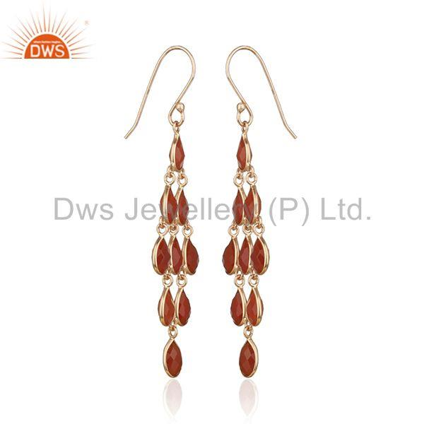 Exporter Red Onyx Gemstone Rose Gold Plated 925 Silver Dangle Earrings Manufacturer