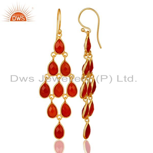Exporter 14K Yellow Gold Plated 925 Sterling Silver Red Onyx Bezel Set Dangle Earrings