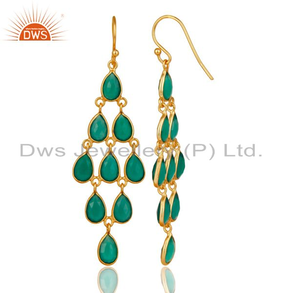 Exporter 14K Yellow Gold Plated 925 Sterling Silver Green Onyx Bezel Set Dangle Earrings