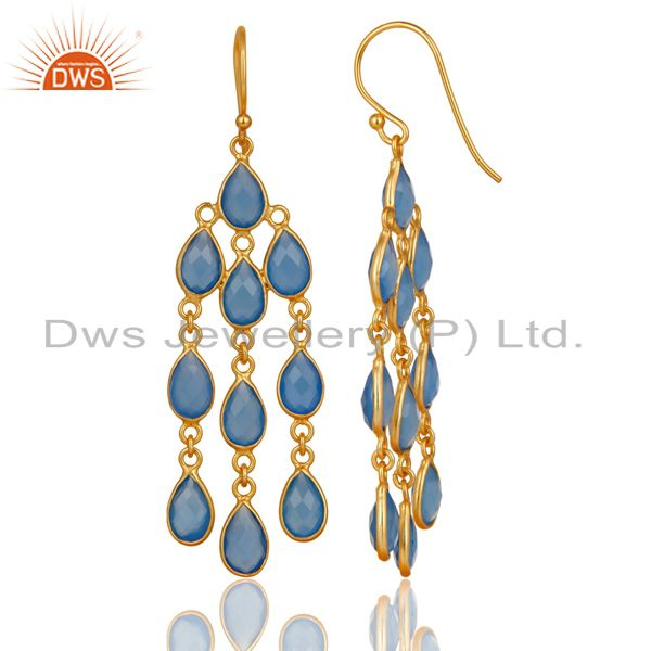 Exporter 14K Gold Plated Sterling Silver Dyed Chalcedony Bezel Set Dangle Earrings
