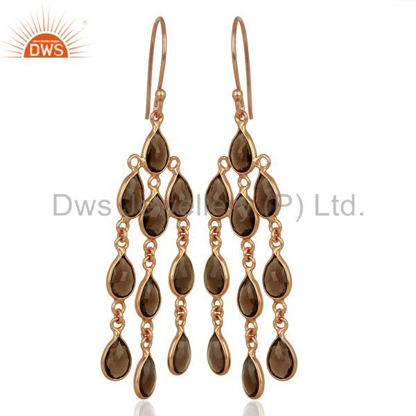 Exporter Rose Gold Plated Silver Smoky Quartz Gemstone Fashion Earrings