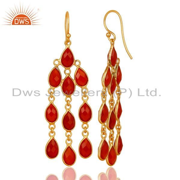 Exporter 18K Yellow Gold Plated 925 Sterling Silver Handmade Red Onyx Chandelier Earrings