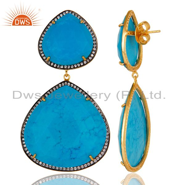 Exporter 14K Gold Plated & Oxidized Handmade Turquoise & White Zirconia Dangle Earrings