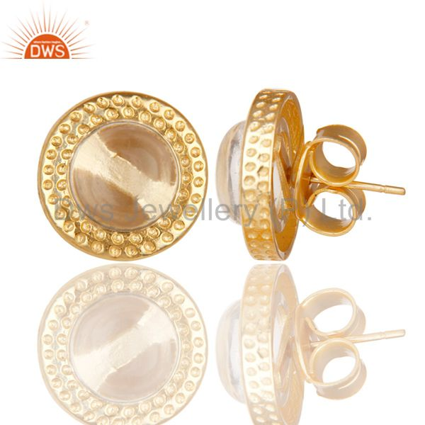 Exporter 14K Yellow Gold Plated Traditional Handmade Crystal Quartz Brass Studs Earrings