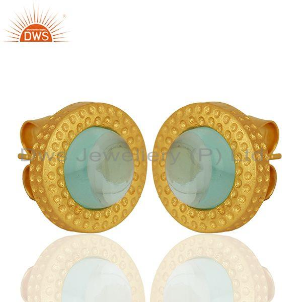 Exporter Hydro Blue Topaz Gemstone Gold Plated Brass Fashion Stud Earrings