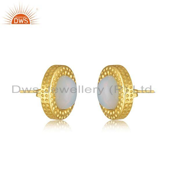 Exporter Handmade Round Shape Gold Plated Fire Opal Stud Earrings Wholesaler India