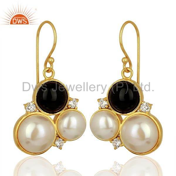Exporter Natural Pearl and Black Onyx Gemstone Bras Earrings Jewelry Supplier