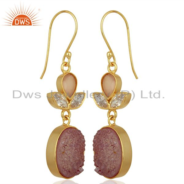 Exporter CZ and Pink Druzy Gemstone Gold Plated Fashion Designer Earrings