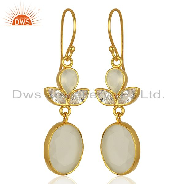 Exporter Designer Gold Plated CZ White Chalcedony Gemstone Fashion Earrings