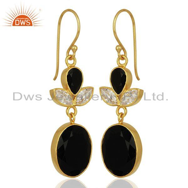 Exporter CZ and Black Onyx Gemstone Gold Plated Fashion Girl Earrings Supplier