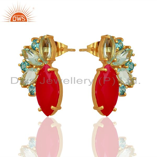Exporter Pink Chalcedony Gemstone Brass Fashion Stud Earrings Jewelry Supplier