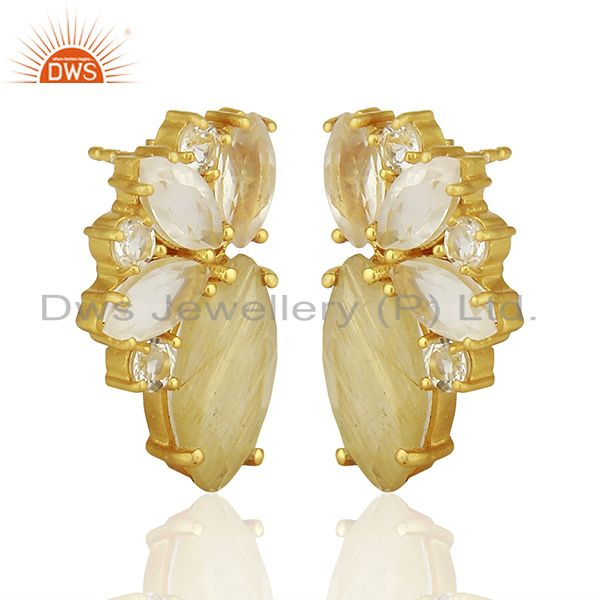 Exporter Golden Rutile Gemstone 925 Silver Fashion Stud Earrings Jewelry