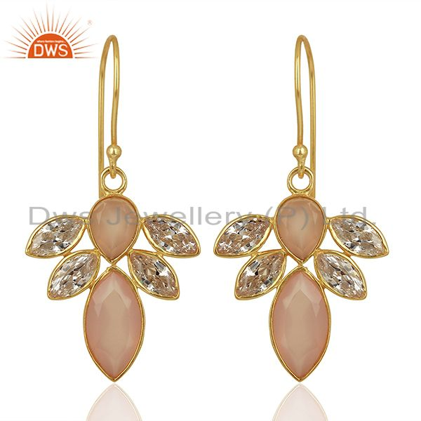 Exporter CZ Rose Chalcedony Gemstone Gold Plated Brass Fashion Earring Supplier