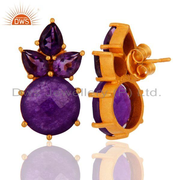 Exporter 18K Yellow Gold Plated Purple Aventurine And Amethyst Cluster Post Stud Earrings