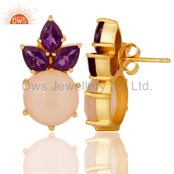 Suppliers 18K Yellow Gold Plated Sterling Silver Amethyst And Chalcedony Stud Earrings