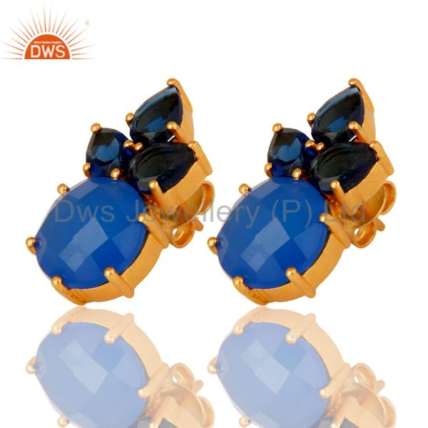 Wholesalers 18K Yellow Gold Plated Sterling Silver Blue Chalcedony Corundum Stud Earrings