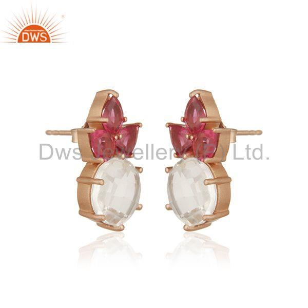 Exporter Multi Gemstone 925 Sterling Silver Gold Plated Stud Earrings Manufacturer