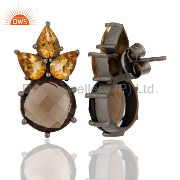 Exporter Oxidized Sterling Silver Smoky Quartz And Citrine Gemstone Post Stud Earrings