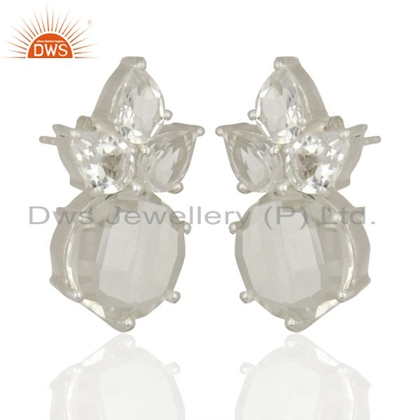 Exporter Crystal Quartz Gemstone Fine Silver Stud Earrings Jewelry Manufacturer