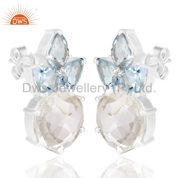 Exporter Natural Blue Topaz And Crystal Large Stud 92.5 Sterling Silver Earring