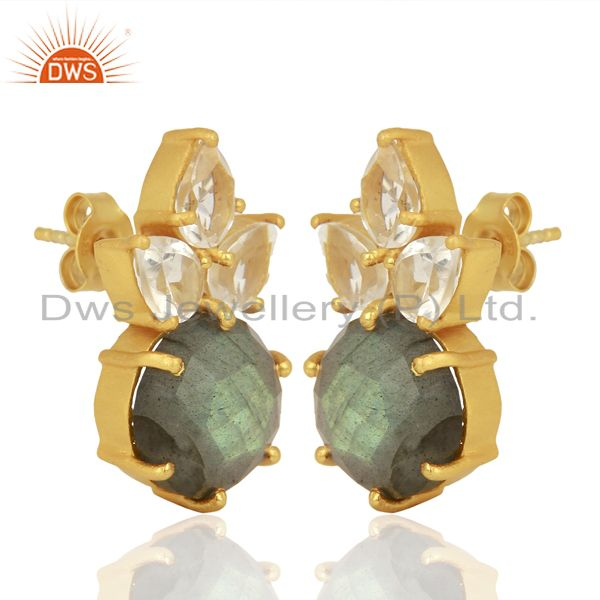 Exporter Labradorite Crystal Quartz Studs Gold Plated Sterling Silver Earrings Jewelry