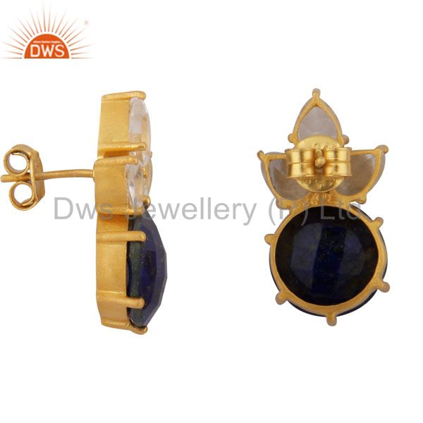 Suppliers 18K Gold Plated Sterling Silver Lapis Lazuli And Crystal Quartz Stud Earrings