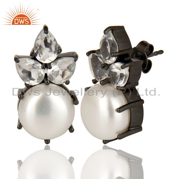 Exporter Black Oxidized Sterling Silver Crystal Quartz & Pearl Prong Set Studs Earrings